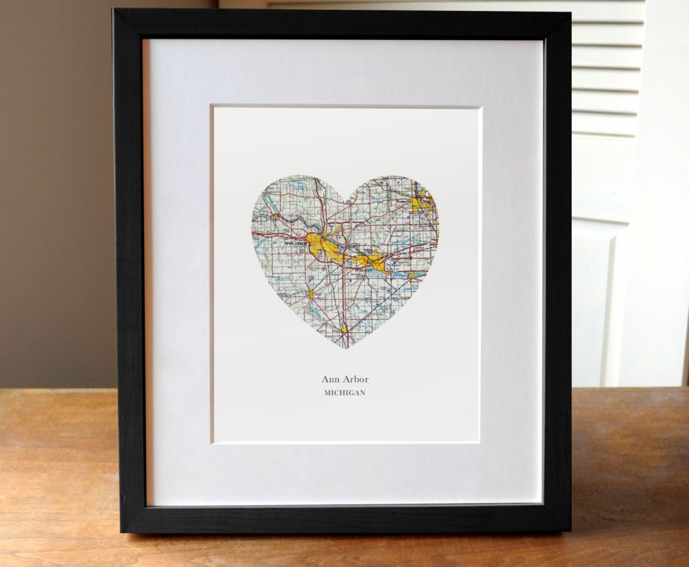 Ann Arbor Map Heart, Michigan Print, Art, Wedding Gift
