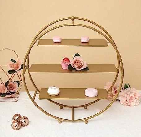 "21"" Gold Metal Cake Circular Arch Stand - -Birthday-Wedding-Anniversary-Cupcake Holder"