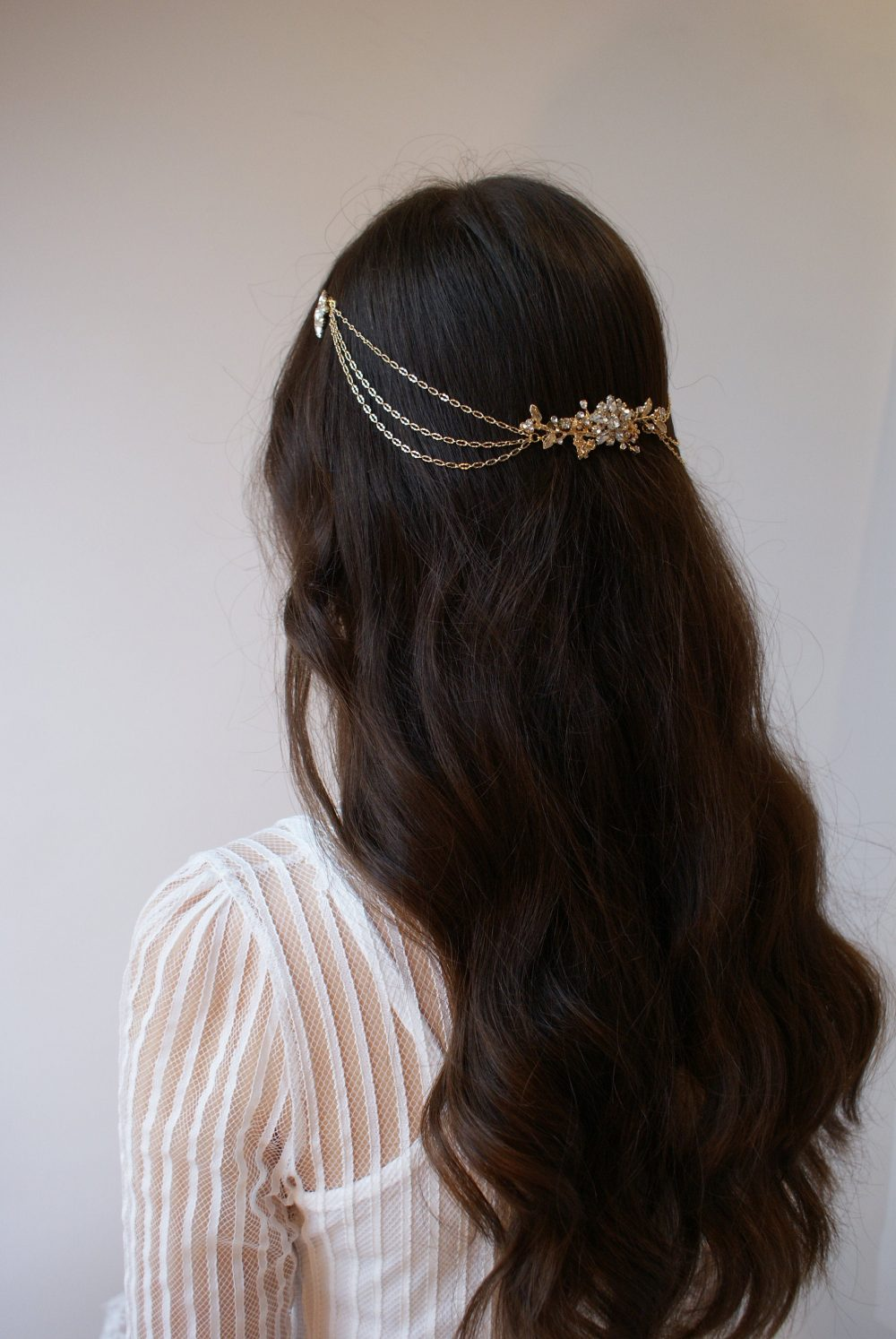 Draped Bridal Headpiece - Gold Wedding Hair Drape Accessory With Swags Chain- Modern Stars