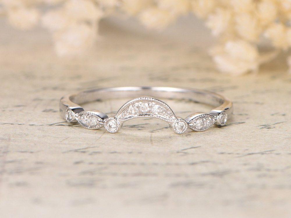 14K Rose Gold Arch Wedding Band Half Eternity Engagement Ring Stackable Bezel Set Marquise & Dot Bands