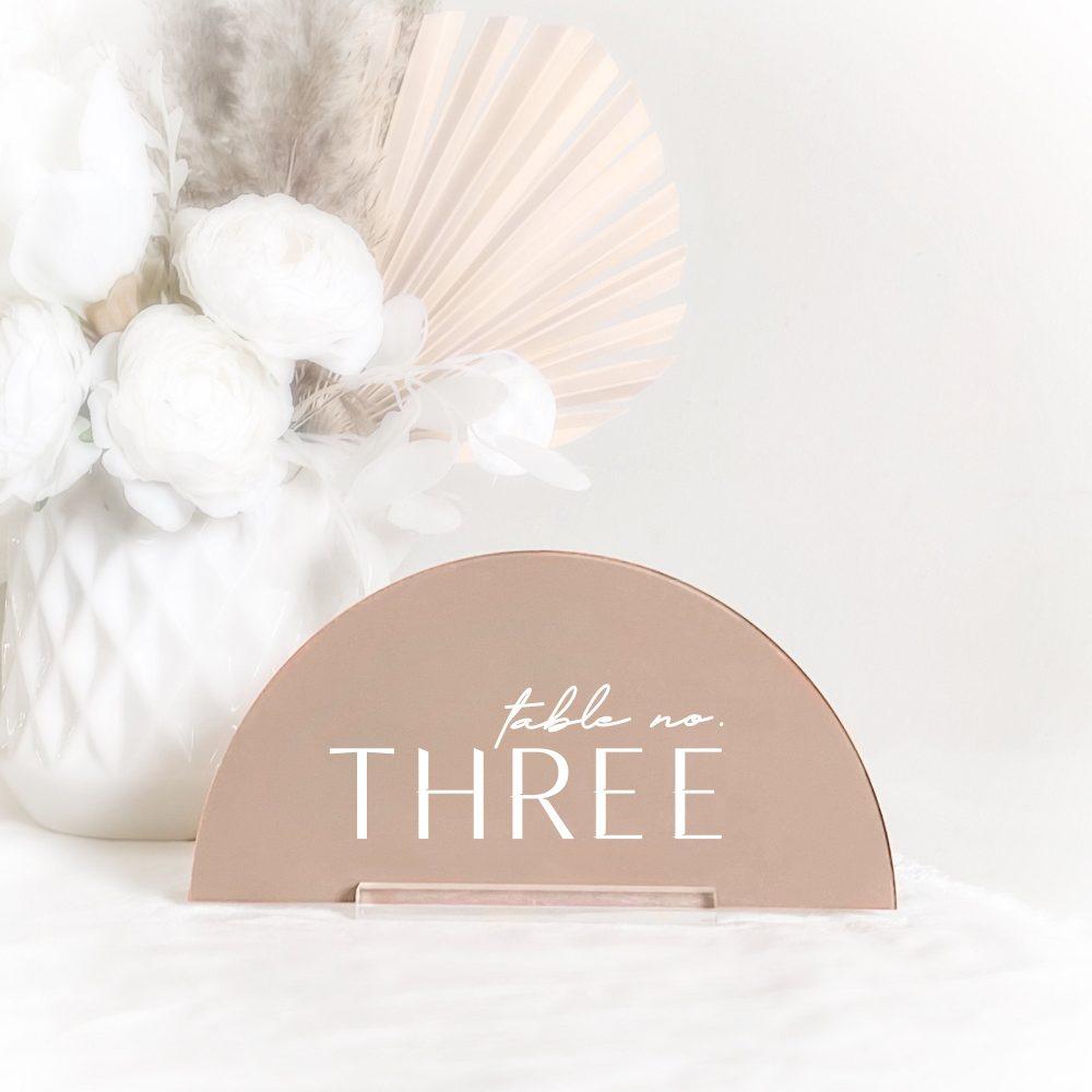 Arched Modern Table Number - Laser Cut Custom Color Option Wedding Sign & Stylish