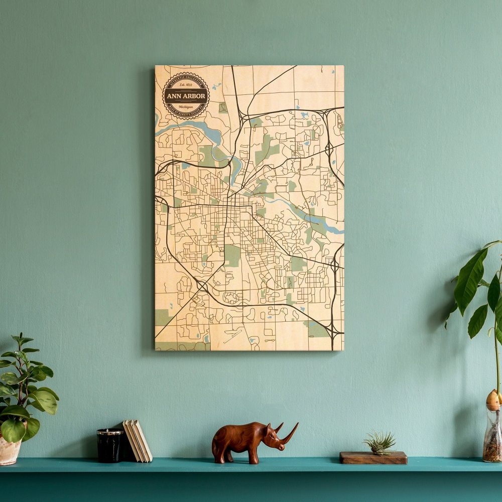 Ann Arbor Mi Wood City Map | Decorative Map, Maple Wall Art, Modern Home Decor, Gift, Wedding, Custom, Benoit's Design Co