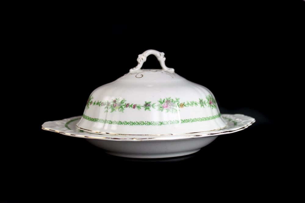 Antique Butter Dish, T & R Boote, Flemish Garland, Waterloo Potteries, Royal Semi-Porcelain, Fine China, Floral Swag, Embossed