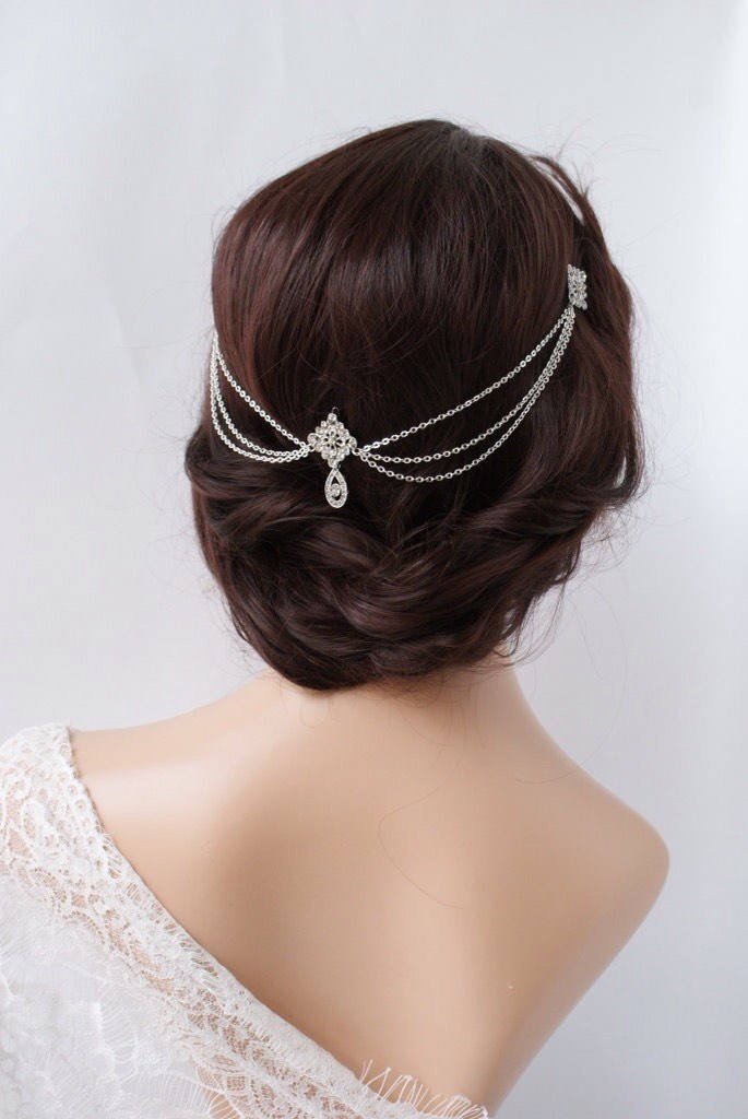 1920S Wedding Headpiece With Swags - Vintage Bridal Hair Chain Style Accessory Dress
