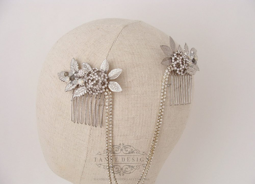1930S Bridal Headpiece With Hair Swag/Vintage Wedding Silver Crystal Chain Accessory Jewelry