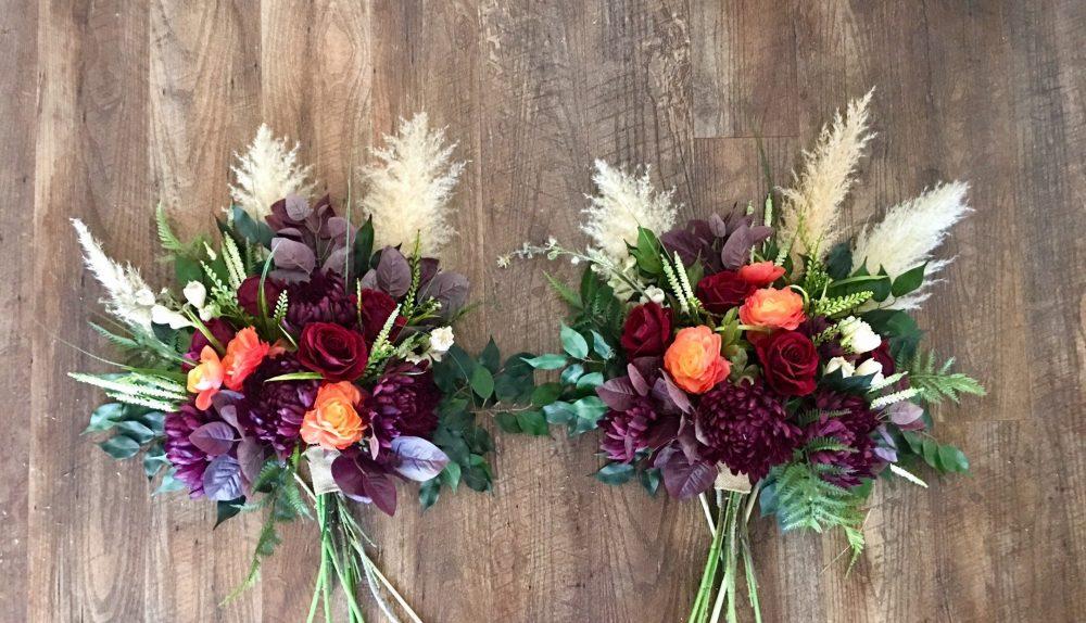 Arch Decoration, Fall Swag, Bohemian Gazebo Flowers, Floral Wedding Decoration. 2 Pieces