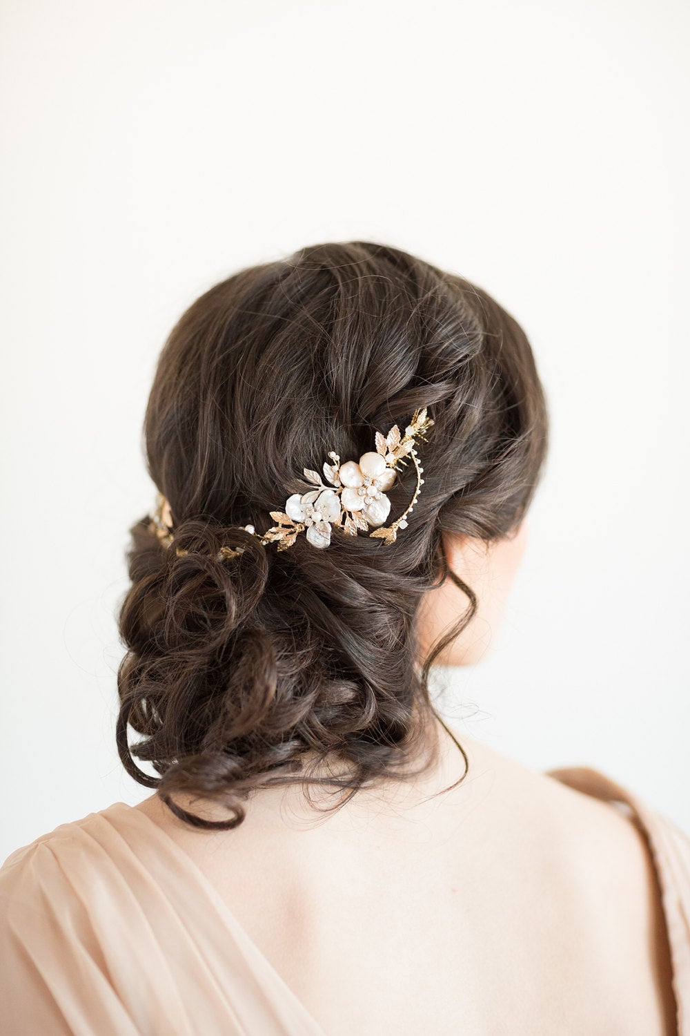 Wedding Pearl Headpiece, Bridal Hairpiece, Gold Crystal Hair Swag, Silver Vine, Comb
