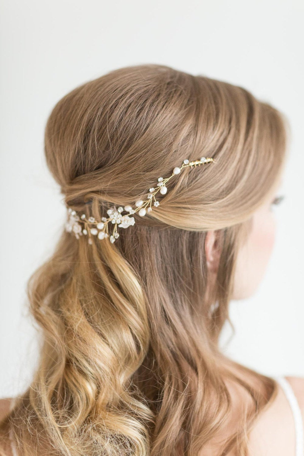 Wedding Hair Vine , Bridal Headpiece, Pearl Swag, Gold Crystal Vine, Silver Hairpiece