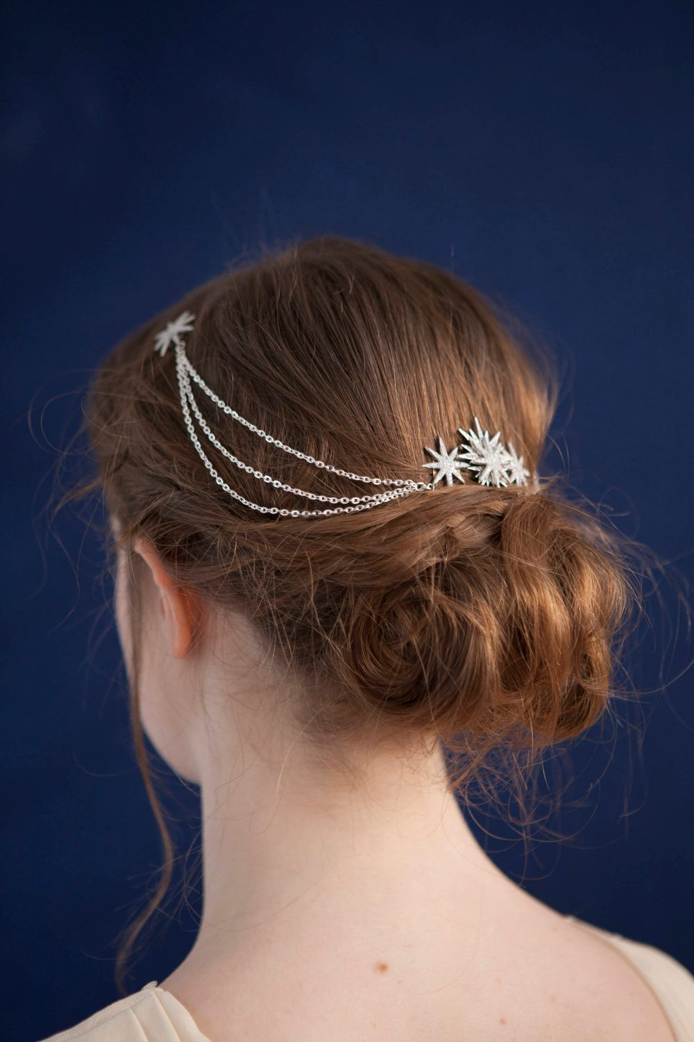 Wedding Hair Chain - Bridal Headpiece With Swags Silver Draped Stars Boho Style