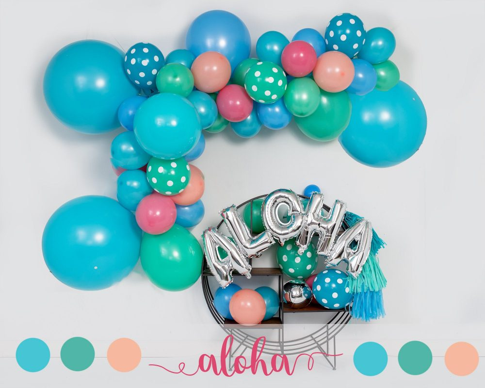 Aloha - 10 Foot Diy Balloon Garland Arch | Birthday Party, Baby Shower Decor Polka Dot Beach Theme Ocean Blue, Green, Peach