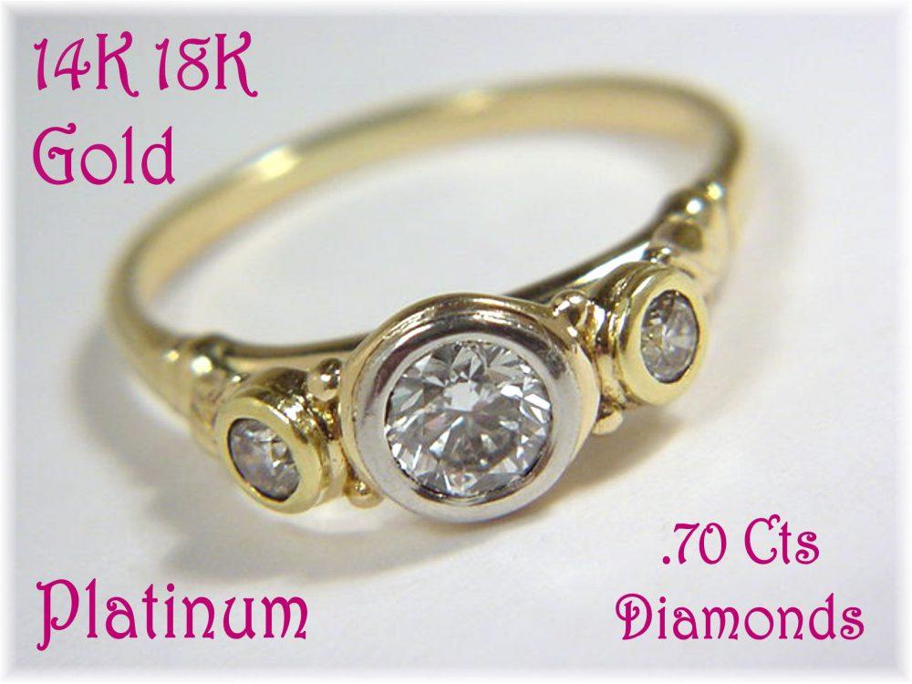 18K 14K Gold Platinum .70 Ct Diamonds Engagement Ring - Custom Designed Arch Set .50 Center Diamond Ooak Wedding Jewelry + Free Shipping