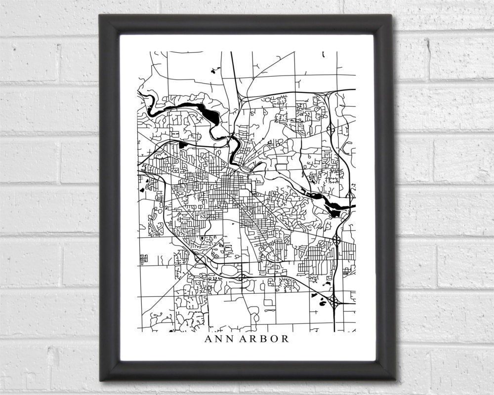 Ann Arbor Map Art - Print Black & White Michigan Graduation Gift Wedding Housewarming Birthday Engagement