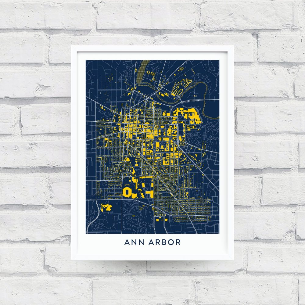 Ann Arbor Michigan Map Poster - Home Of The University Alumni Gifts