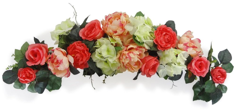 """32"""" Coral Rose Peony Swag - Flower Garland For Wedding Arch Floral Decor, Home Party Decor, Flowers Outdoor"""
