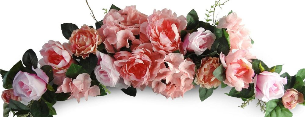 """32"""" Rose Peony Swag - Flower Garland For Wedding Arch Floral Decor, Home Party Flowers Outdoor Wedding, Pink"""
