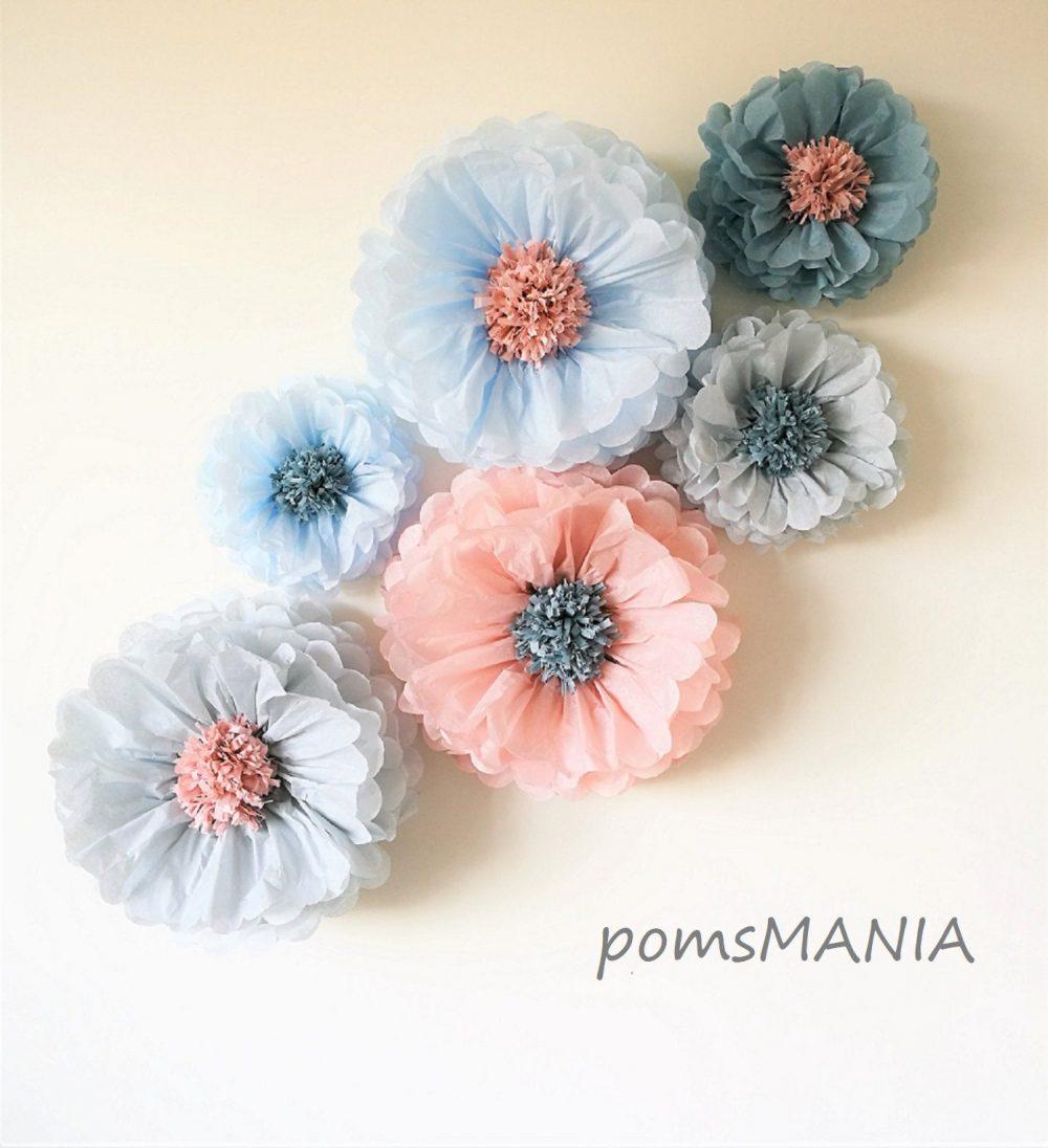 3D Wall Decorations Paper Flowers Backdrop | 8 Units Mixed Size - Vintage Colors Party Centerpiece Wedding Arch Diy Flower