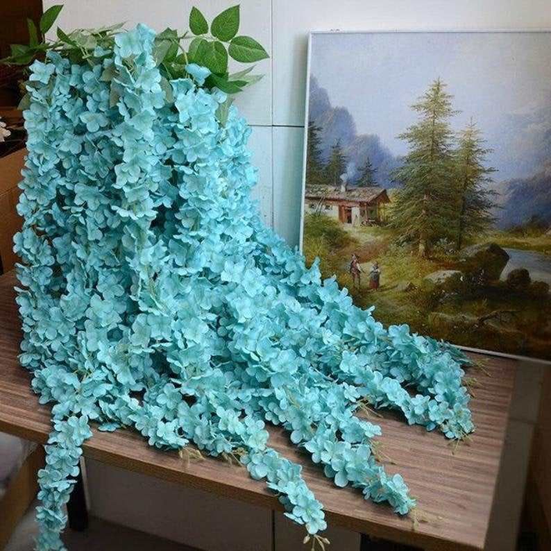"Aqua Blue 164cm/64.6"" Wisteria Garland Hanging Flowers For Outdoor Wedding Ceremony Decor Silk Vine Arch Floral"