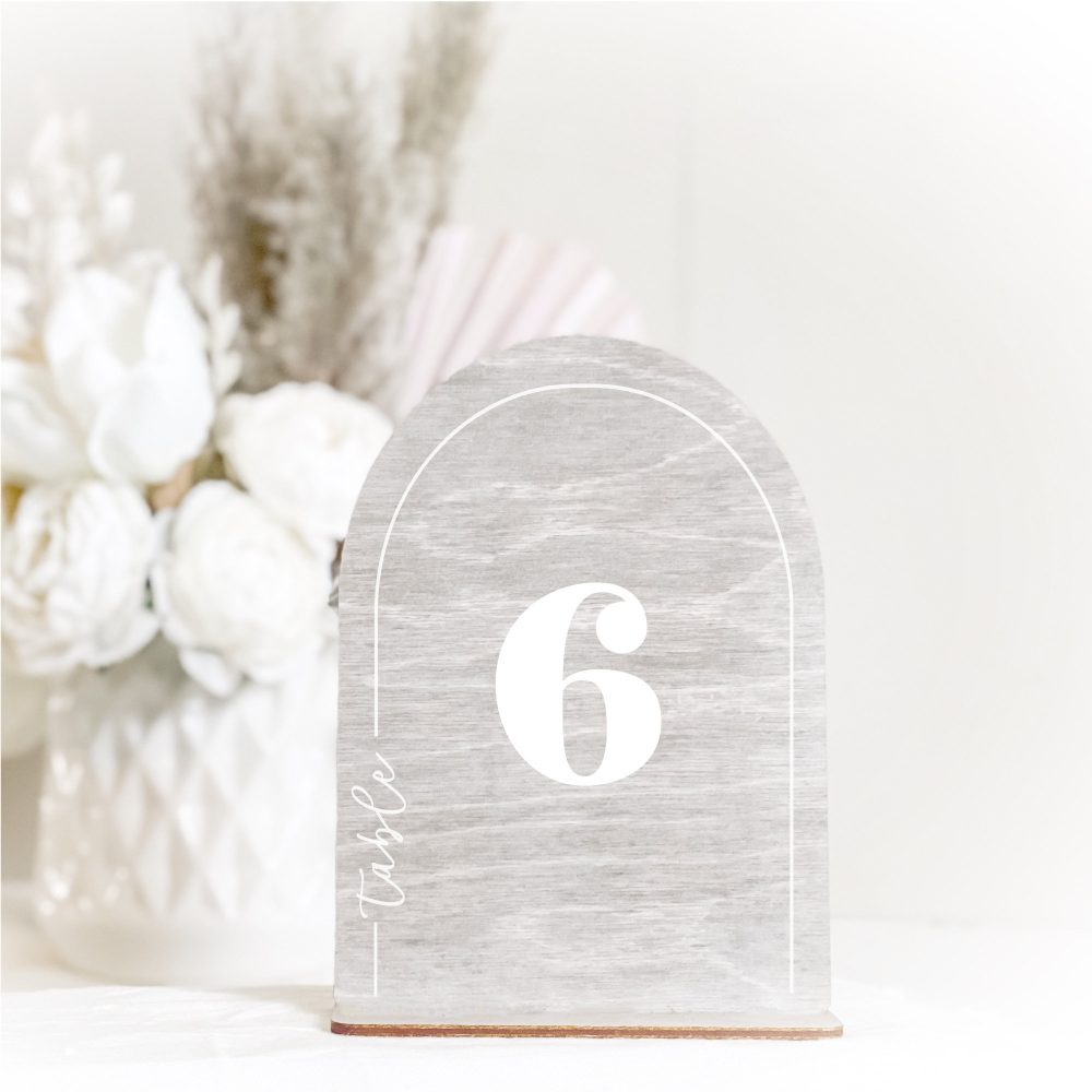 Arched Modern Table Number - Laser Cut Acrylic Or Wood Colors Custom Color Option Wedding & Special Event Signage Semi-Circle Shape