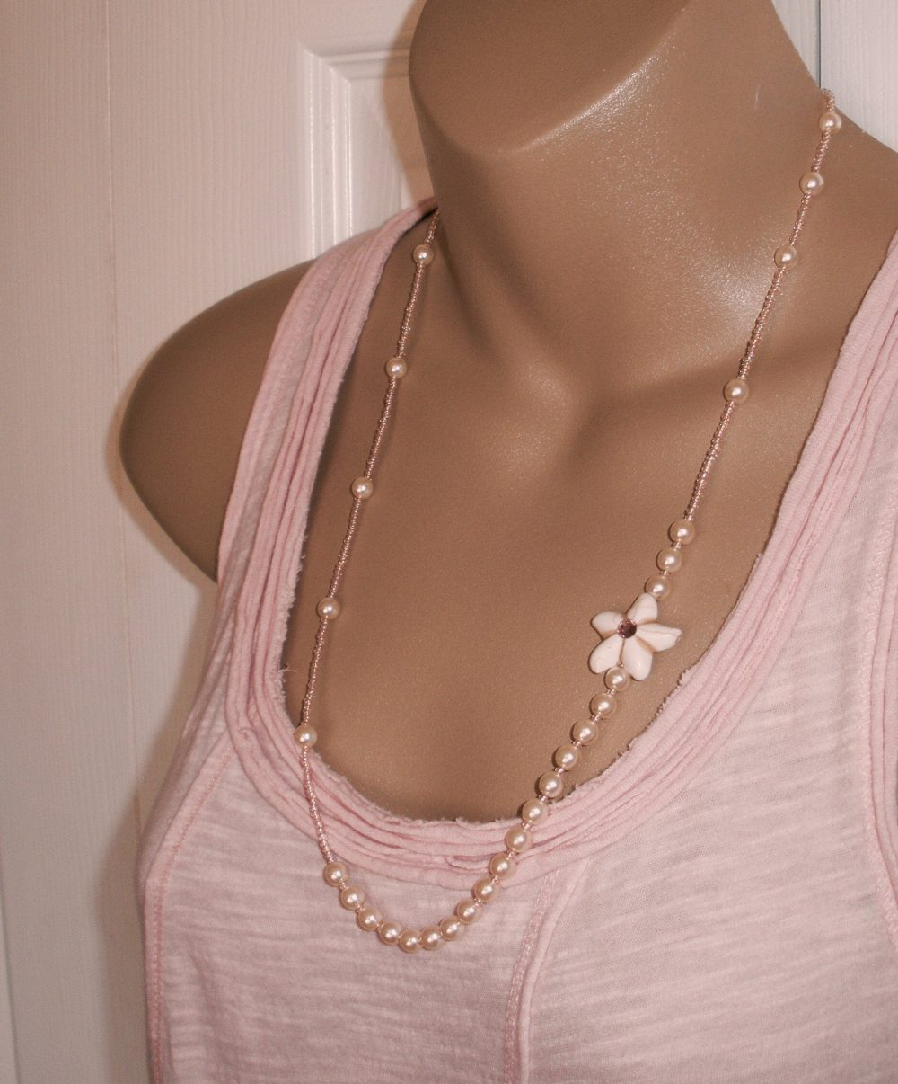 Blush & Pearl Necklace, Mother Of The Bride Jewelry, Groom Wedding Necklaces, Summer Event Jewelry
