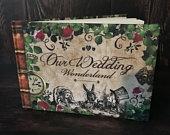 Alice in Wonderland Guest Book, Fantasy Guest Book, Wedding Guest Book, Alternative Guest Book, Alice Wedding Theme