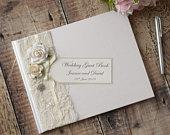 Personalised Wedding Guest Book. Luxury Vintage Style Rose, Lace Jewel Design. Handmade Wedding Guest Book. Wedding Keepsake.