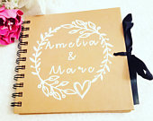 Guest book, personalised wedding guest book, hen party book, wedding planner, rustic guest book, wedding, bride to be gift, hen do gift