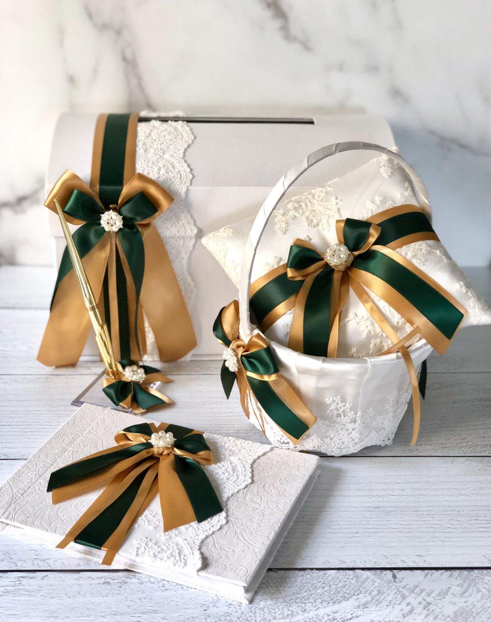 Gold Flower Girl Basket, Green Wedding Ring Pillow, Hunter Card Box, Guest Book & Pen, Bearer Basket