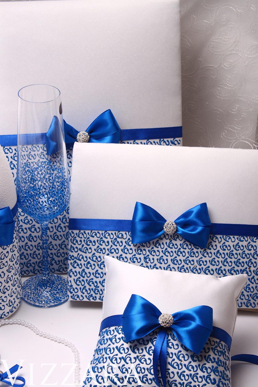 Blue Wedding Set Glasses Ring Bearer Pillow Guest Book Garter Flower Girl Basket Unity Candles Server & Knife Set