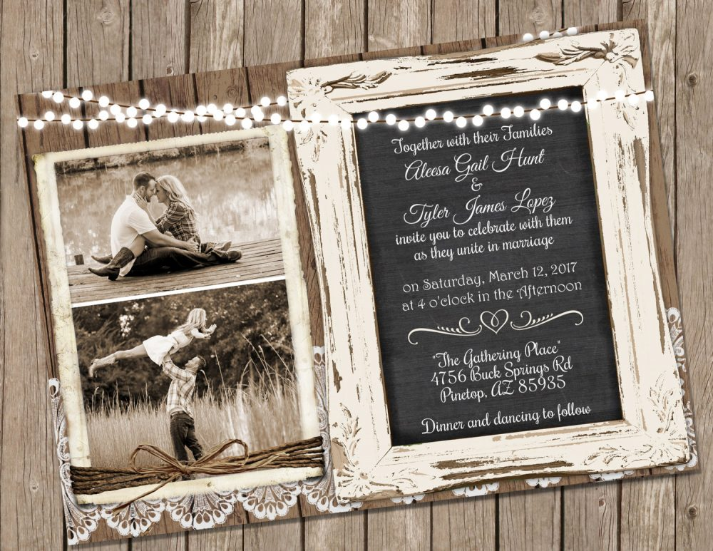 Wood & Lace Wedding Invitation, Chalkboard Rustic Invite With Photo, Shabby Chic Invite