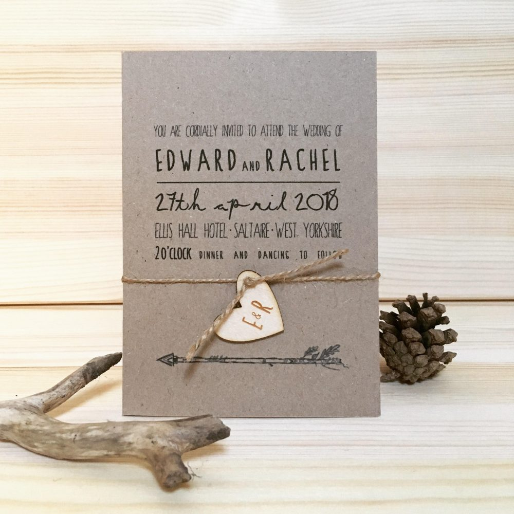 Rustic Wedding Invitation, Rustic Wedding, Wooden Invite, Boho Save The Date, Kraft Stationery