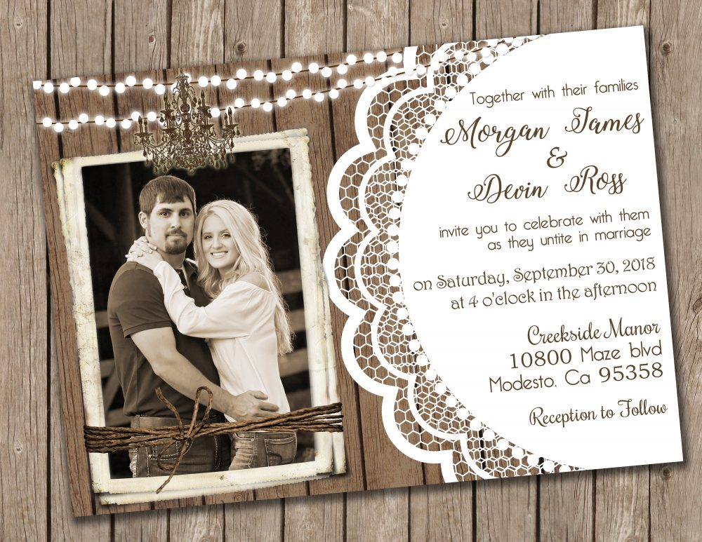 Wood & Lace Wedding Invitation, Chandelier Rustic Invite With Photo, Shabby Chic Invite