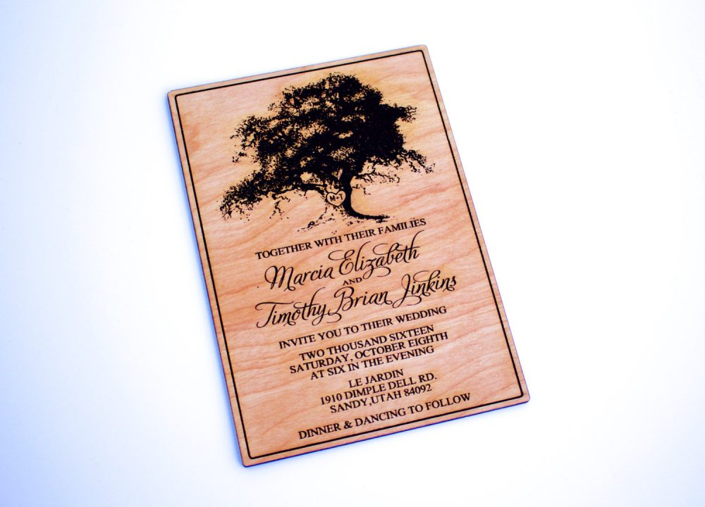 Wooden Wedding Invitation, Wood Rustic Wedding, Oak Tree, Country Laser Engraved