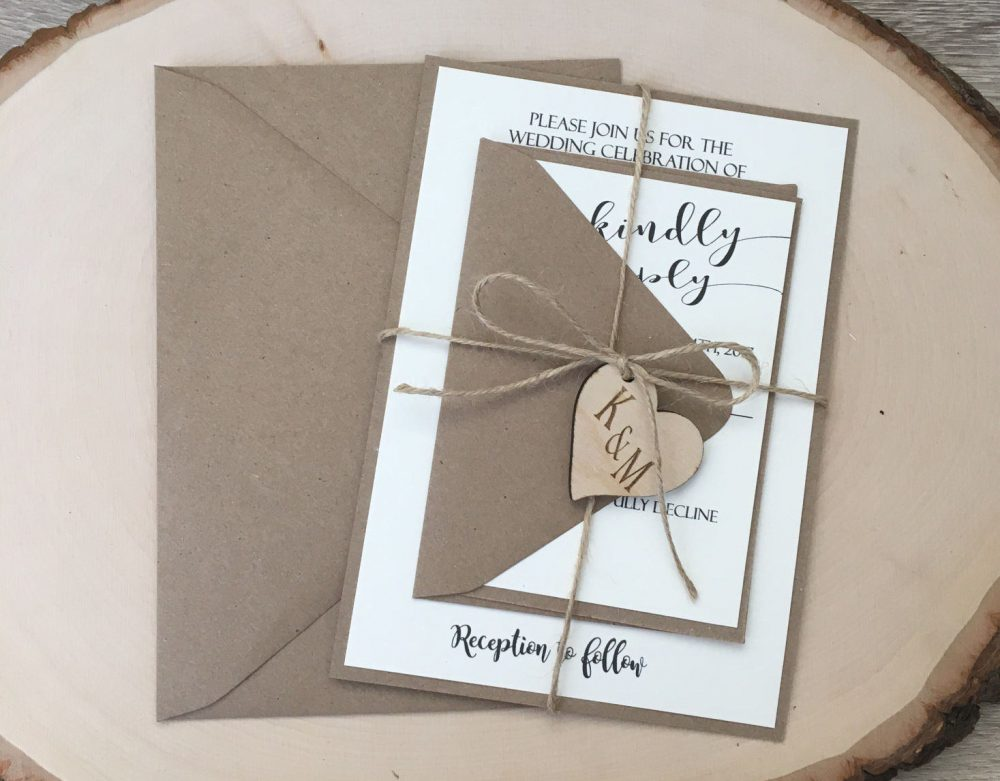 Wedding Invitation, Rustic Wedding Wooden Heart Simple Kraft Country Invite