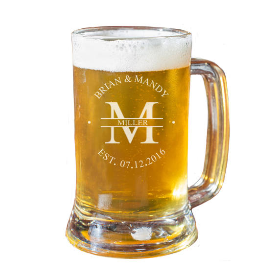 Personalized Beer Mug, Engraved Family Name Wedding Gift, Anniversary Gift