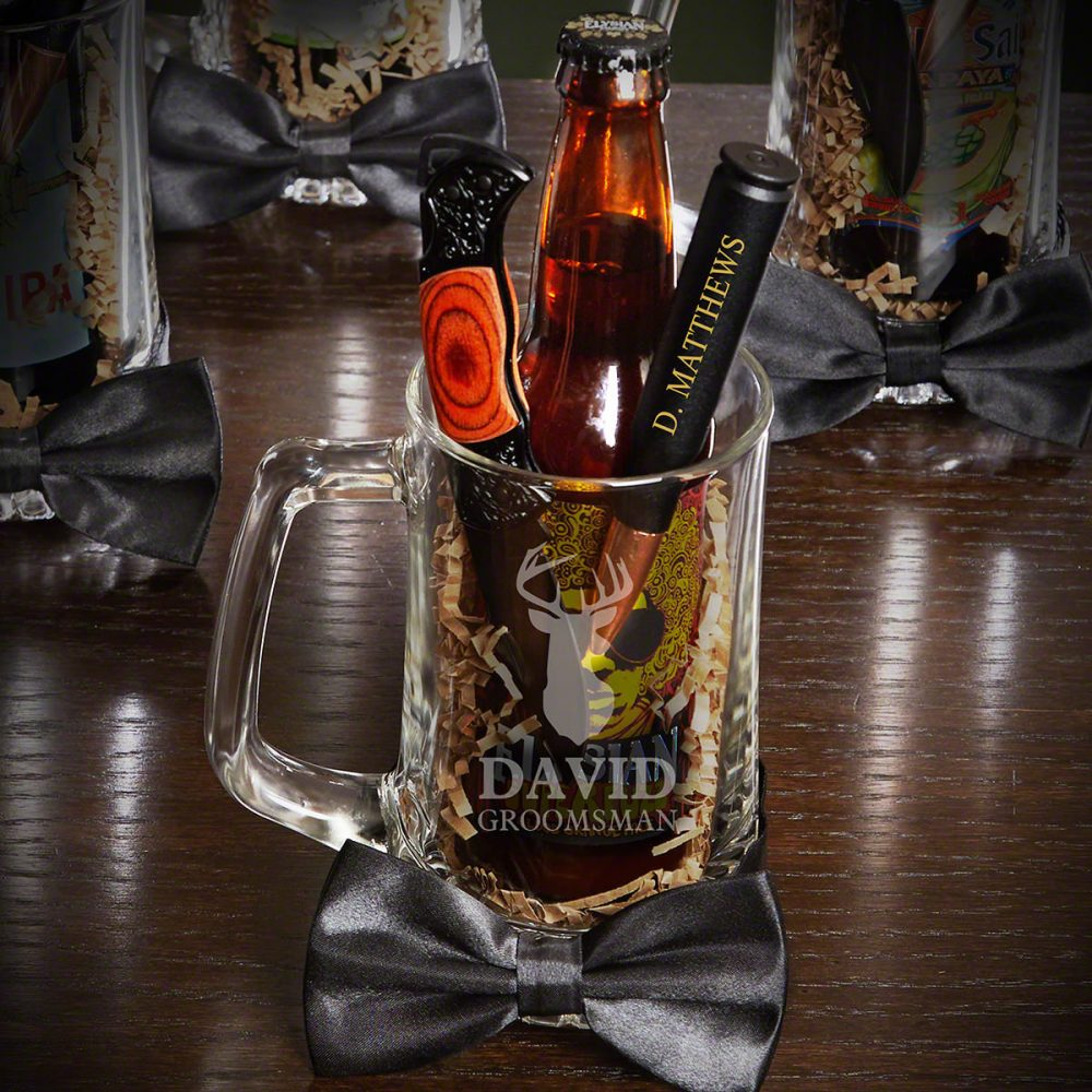 Woodlands Personalized Beer Mug Groomsman Gift Set - For Hunters, Lover Gift, Best Man Wedding Party Custom