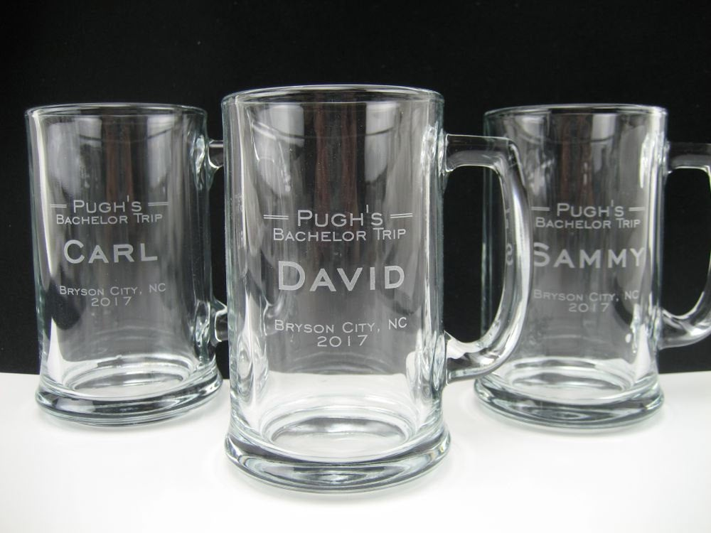 Set Of 10 - Personalized Beer Mug Bachelor Party Engraved Glass