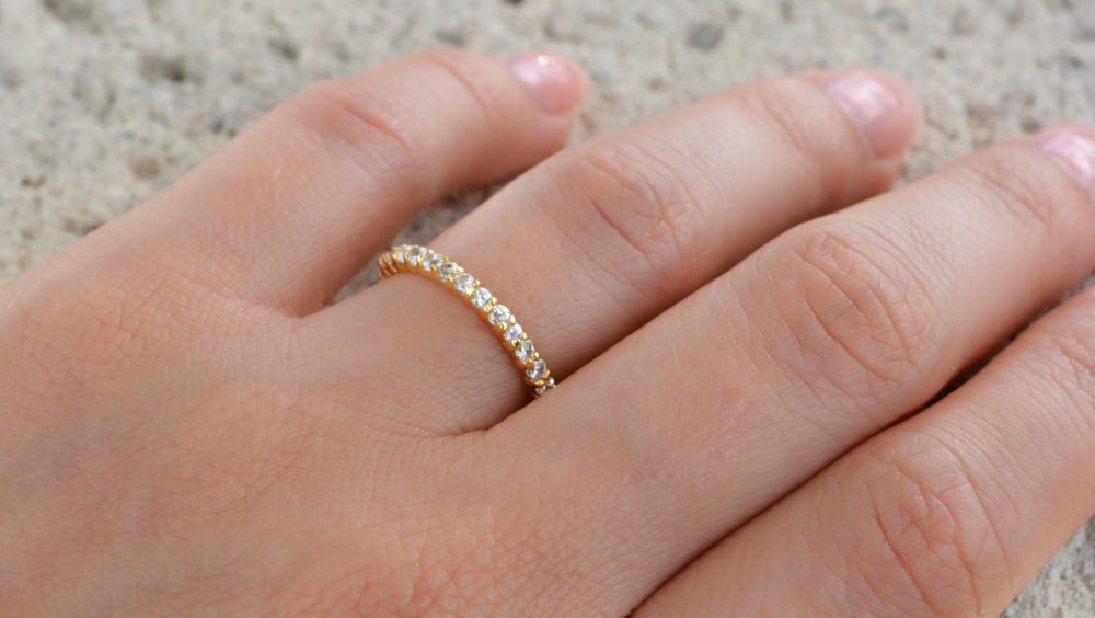 High Quality Cz Eternity Band Ring. 2mm Sterling Silver Gold Plated Wedding Band. Full Stacking Rings