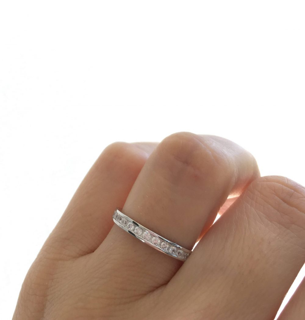 Eternity Band Ring. Silver Wedding 2mm Band. Fine Quality Cz Stacking Packed in A Luxury Box With Blank Note Card