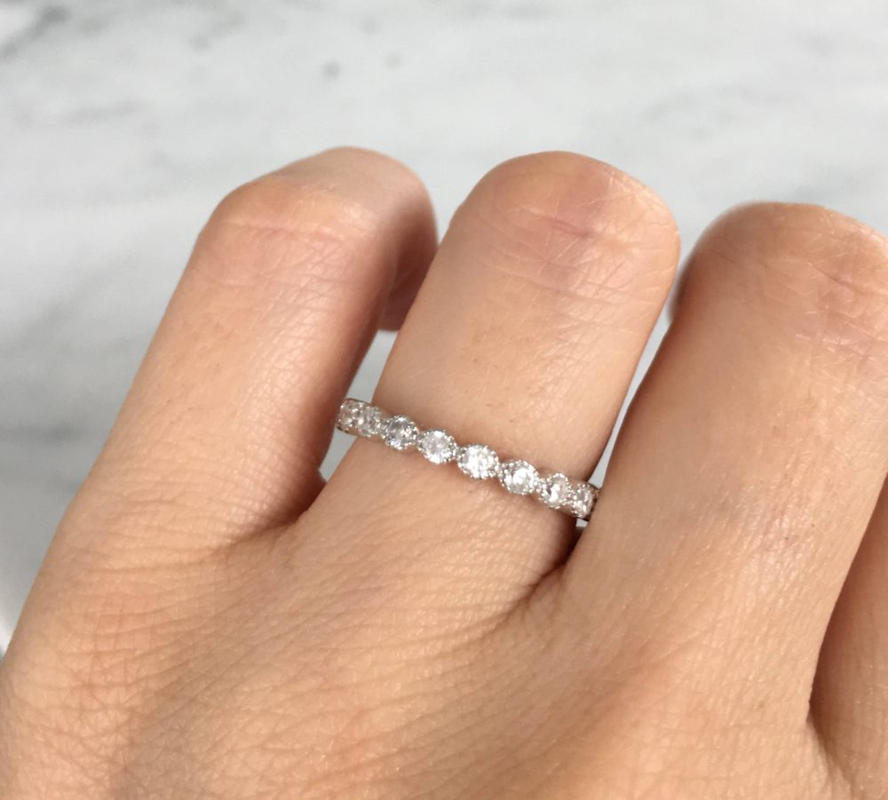 Round Cut Eternity Band Ring. Silver Band. Band Stackable Eternity