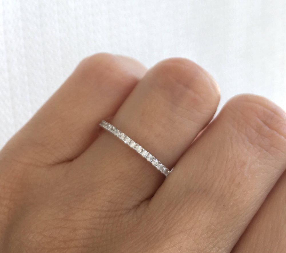 Half Eternity Band Ring. Silver Rhodium Cz Band. Band Stackable Eternity