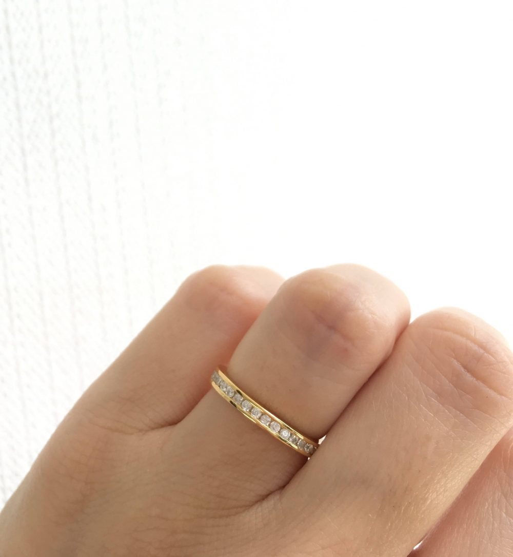 Gold Eternity Band Ring. Wedding Band. Sterling Silver Plated Stacking Stackable Ring Packed in A Luxury Box