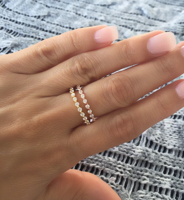 Round Cz Eternity Band Ring. Silver Gold Band. Band Stackable Eternity Rings