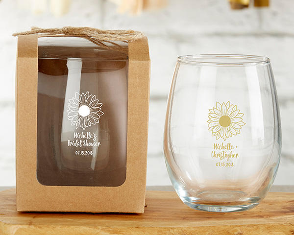 Personalized 9 Oz. Stemless Wine Glass Sunflower Floral Custom Glasses Winery Brewery Beach Tea Party Bridal Shower Bachelorette Host Gift