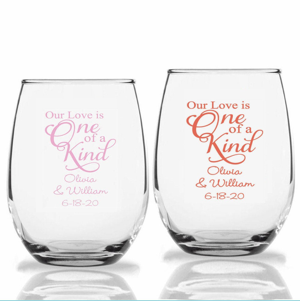 24+ Personalized Stemless Wedding Wine Glasses, Our Love Is One Of A Kind, Custom Reception Favors