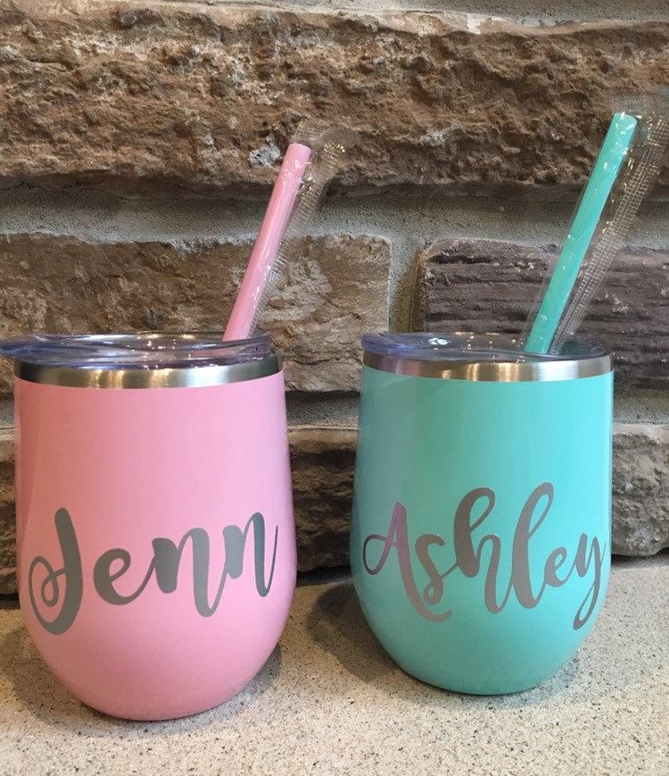 Personalized Bridesmaid Tumbler   Wedding  stemless Wine Glass Tumbler - Great For & Bachelorette Parties