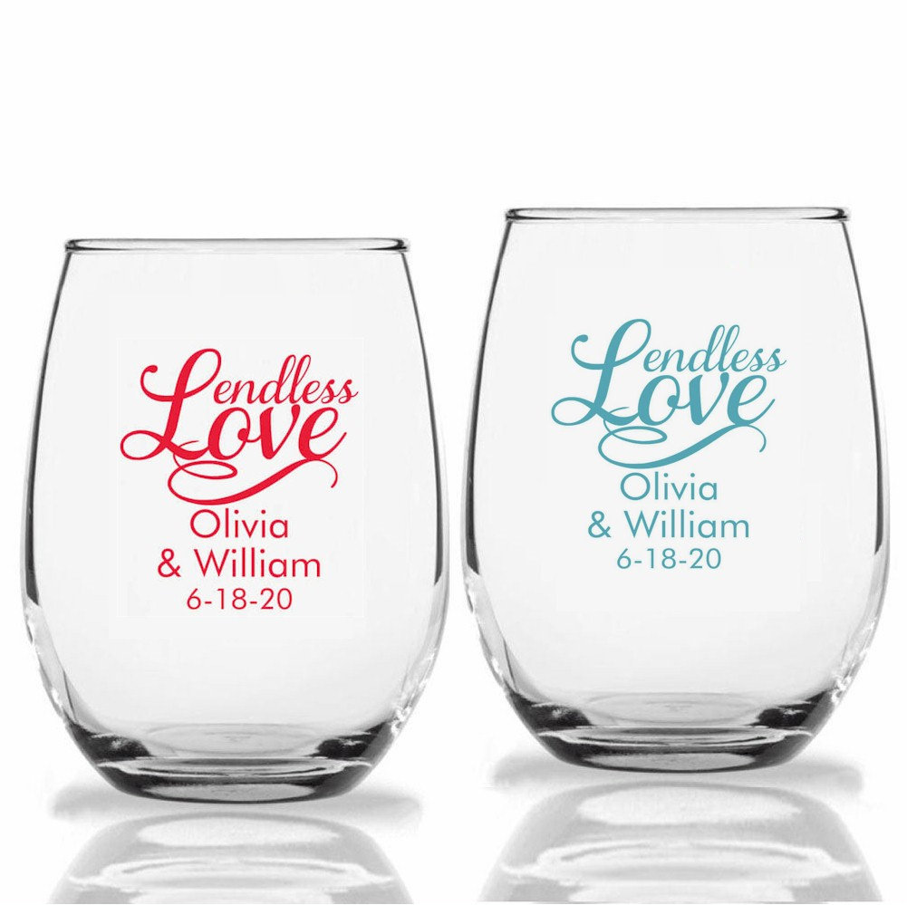 24+ Endless Wedding Wine Glasses, Personalized Stemless Custom Favors