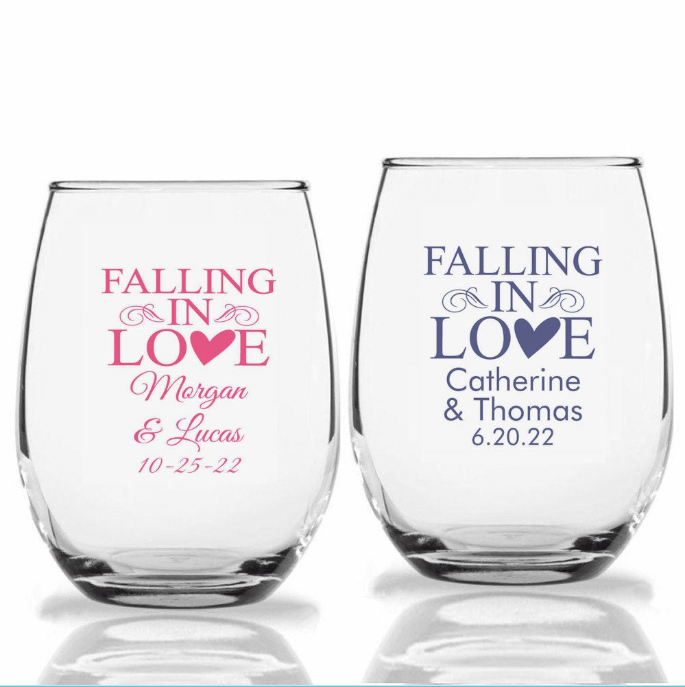 24+ Falling in Love Wedding Wine Glasses, Personalized Stemless Custom Favors