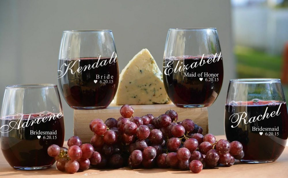 Personalized Wine Glass, Bridesmaids Gifts, Customized Stemless Monogram Bridesmaid Gift, Glass Wedding Favors