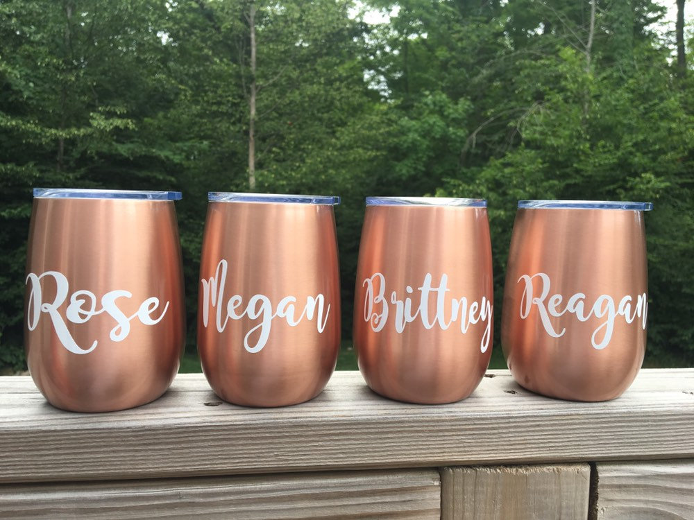 Personalized Copper Wine Tumbler   Wedding Stemless Glass Tumbler - Great For & Bachelorette Parties
