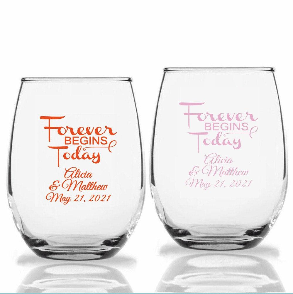 24+ Forever Begins Wedding Wine Glasses, Personalized Stemless Custom Favors